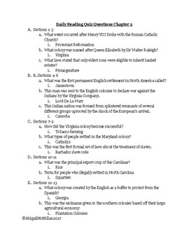 AP US American Pageant Chapter 2 Daily Reading Quiz