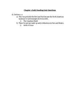 AP US American Pageant Unit 1 Chapters 1-8 Daily Reading Quiz BUNDLE