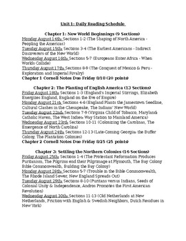 AP US American Pageant Unit 1 Daily Reading Schedule