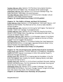 AP US American Pageant Unit 5 Daily Reading Schedule