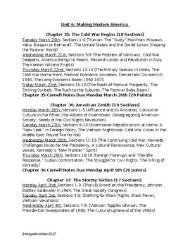 AP US American Pageant Unit 6 Daily Reading Schedule