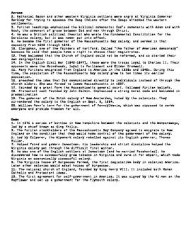 AP US Colonization Puzzle 21 terms using Apstudent.com