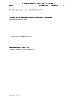 AP US Government AMSCO Chapter 6 Reading Guide