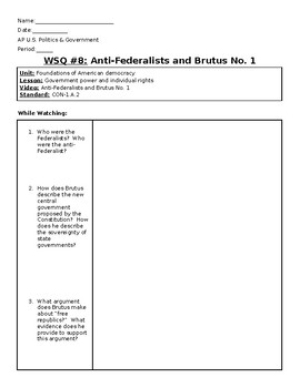 AP US Government Khan Academy Video Worksheet #8 Anti-Federalists & Brutus #1