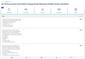 AP US Government & Politics College Board Released Multiple Choice Questions