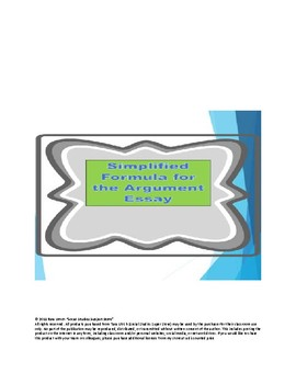 AP US Government REDESIGN Argument Essay Tip Sheet and Pre-Write Chart