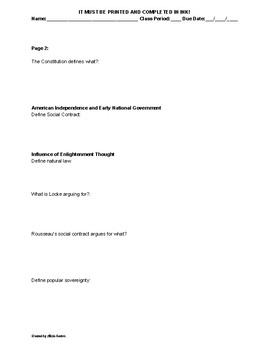 AP US Government Reading Guide for AMSCO 2018 Chapter 1