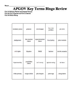 AP U.S.Government Vocabulary BINGO GAME # 1