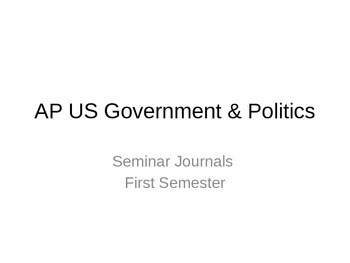 AP US Government Warm Up Journals Semester 1