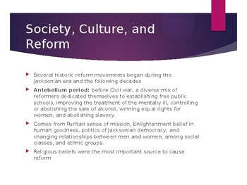 AP US History (APUSH) Chapter 11 PowerPoint:  Society, Culture, Reform