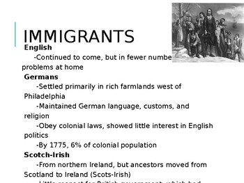 AP US History (APUSH) Chapter 3 PowerPoint:  Immigration, Life in the Colonies
