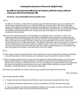 AP US History Analyzing Secondary Documents Cherokee Short