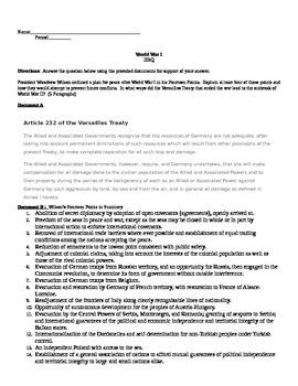 AP U.S. History DBQ World War I includes question, documen