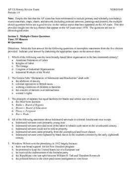 AP US History Exam on All Topics