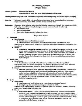11th Grade US History The Roaring Twenties Research Essay Menu 1920's