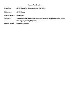 11th Grade AP US History Free Response Question FRQ Rubric