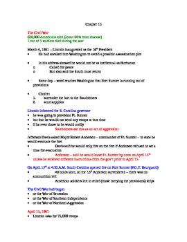 AP US History Lecture Notes #15 (Civil War)