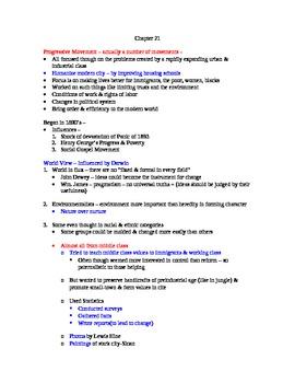 AP US History Lecture Notes #21 (Progressives)