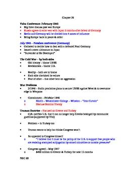 AP US History Lecture Notes #26 (Yalta - Korean War)
