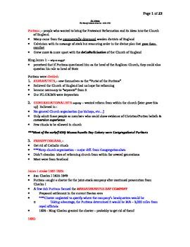 AP US History Lecture Notes #03 (Puritans - Establishing Colonies)