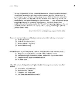 AP U.S. History New Format MC Questions 1607-1754