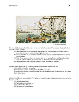 AP U.S. History New Format MC Questions 1754-1800