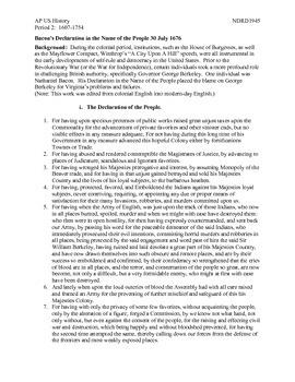 AP US History Period 2:  The Tumultuous 17th Century