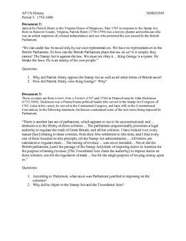 AP US History Period 3: 1754-1800