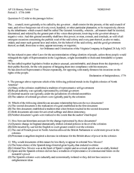 AP US History Period 3 Exam with Excerpts with Answer Key