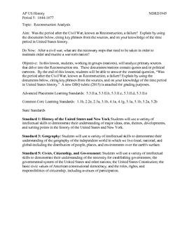 AP US History Period 5:  Reconstruction