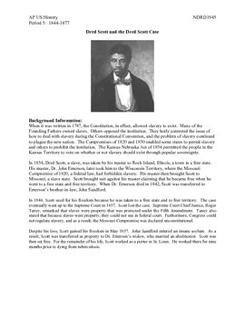 AP US History Period 5:  The Dred Scott Case and its aftermath