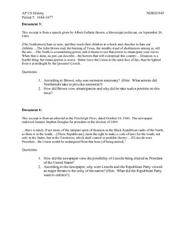 AP US History Period 5:  The Issue of Secession