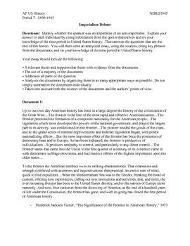 AP US History Period 7:  Imperialism Debate
