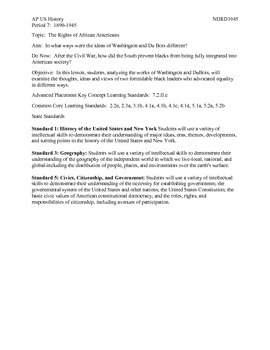 AP US History Period 7:  Washington and DuBois