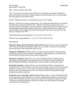 AP US History Period 8:  1950s American Society