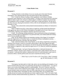 AP US History Period 8:  Cuban Missile Crisis