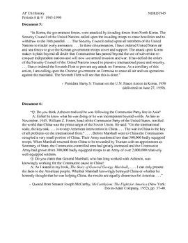 AP US History Period 8:  McCarthyism