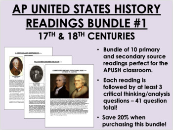 AP US History Readings Bundle #1 - 17th & 18th Centuries - APUSH