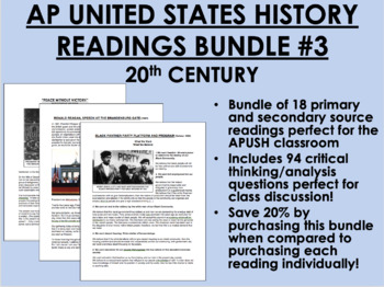 AP US History Readings Bundle #3 - 20th Century - APUSH