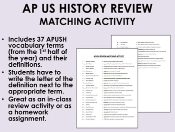 AP US History Review Matching Activity
