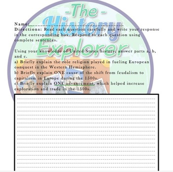 AP U.S. History Short-Answer Item: Cause/Effects of Exploration on Europe