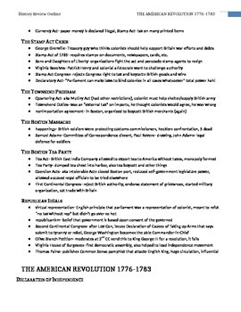 AP US History Super Review Notes (Study Aid / Handout)