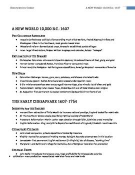 AP US History Super Review Notes (Study Aid / Handout)