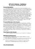 AP U.S. History Syllabus/Course of Study