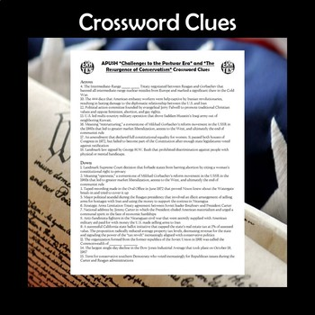 AP US History Vocab Review Postwar Challenges & Conservatism Crossword APUSH