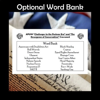 APUSH Postwar Challenges & Conservatism Vocabulary Crossword Review