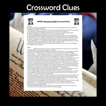 AP US History Vocabulary Review American Zenith Crossword Puzzle APUSH