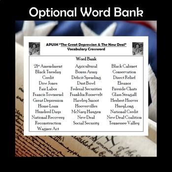 AP US History Vocabulary Review The Great Depression & New Deal Crossword APUSH