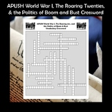 AP US History Vocabulary Review World War I & The Roaring 20s Crossword APUSH