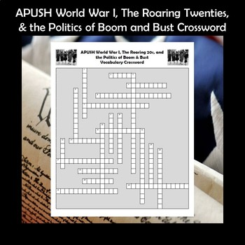 AP US History Vocabulary Review World War I & The Roaring 20s Crossword APUSH
